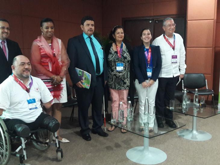 Participantes de la sesión paralela sobre discapacidad y desastres de la Plataforma Regional sobre RRD en Cartagena (2018). Con presencia de representantes de miembros de la red GIRDD: RIADIS, ONG Inclusiva, OPS/OMS, Gobierno de Ecuador.